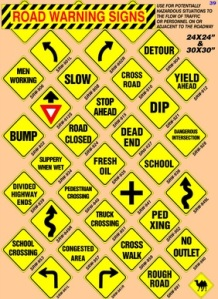 road caution signs